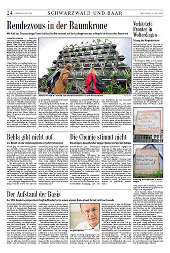 Zeitungsartikel Badische Zeitung , 11.Juli 2012, S.24.