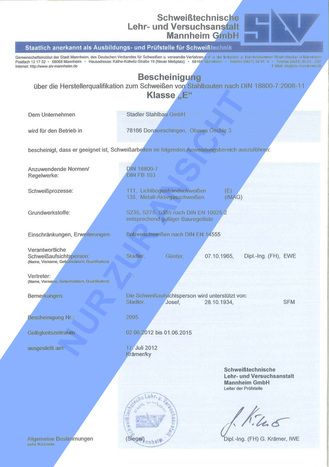 Herstellerqualifikation Klasse E