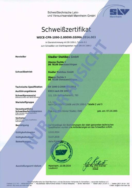 Schweißzertifikat nach EN 1090-2